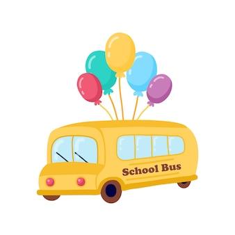 Ilustracja dzieci w wieku szkolnym jeżdżących żółtym szkolnym autobusem edukacyjnym