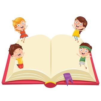 Ilustracja dzieci z książką
