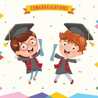 Ilustracja dzieciak absolwentów