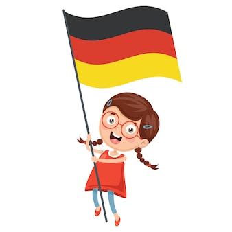 Ilustracja dzieciak trzyma niemcy flaga