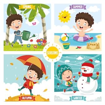 Ilustracja dzieciaka i cztery pory roku