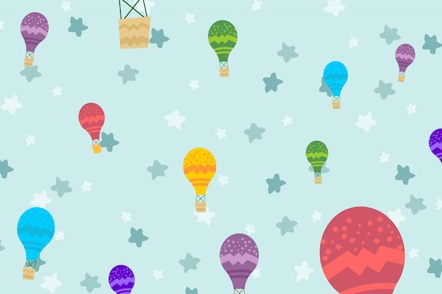 Ilustracja dzieciaka tło z lotniczym balonem