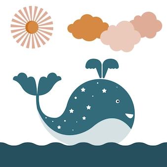Ilustracja dziecinna ryb wielorybów