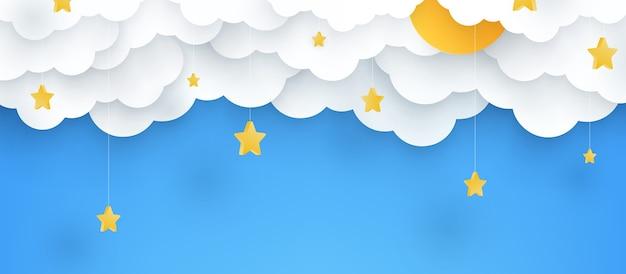 Ilustracja. dziecinne niebieskie tło z chmurami i gwiazdami