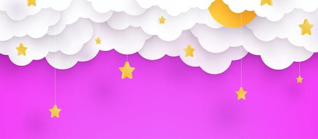 Ilustracja. dziecinne różowe tło z chmurami i gwiazdami