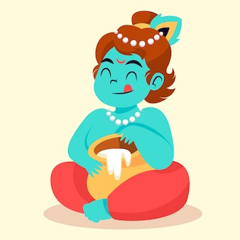 Ilustracja dziecka krishna jedzącego masło