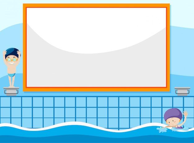Ilustracja dziecko pływanie tło
