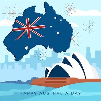 Ilustracja dzień australii z flagą