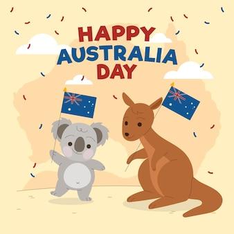 Ilustracja dzień australii ze zwierzętami