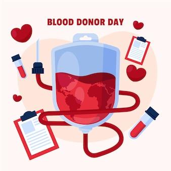 Ilustracja dzień dawcy krwi organiczny płaski świat