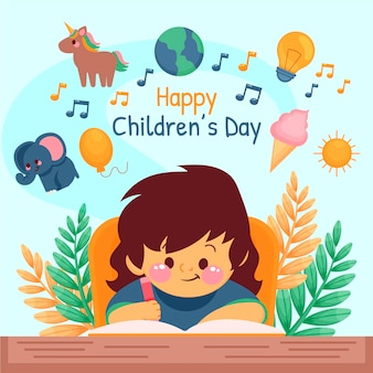 Ilustracja dzień dziecka ekologicznego płaskiego świata