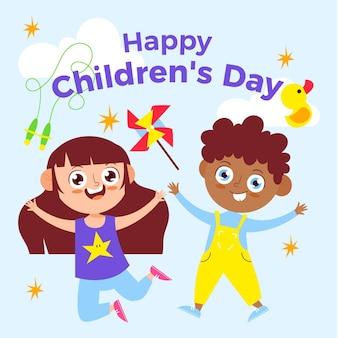 Ilustracja Dzień Dziecka Ekologicznego Płaskiego świata Darmowych Wektorów