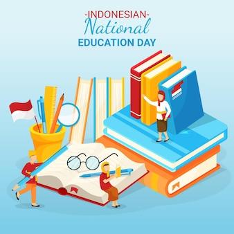 Ilustracja dzień edukacji narodowej gradientu indonezyjskiego