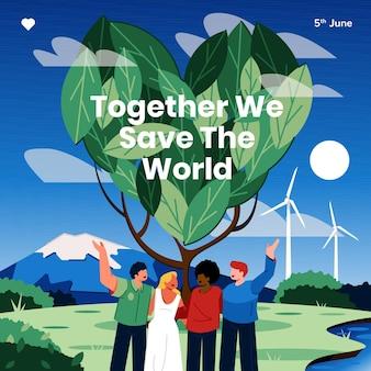 Ilustracja dzień ekologicznego płaskiego środowiska ekologicznego