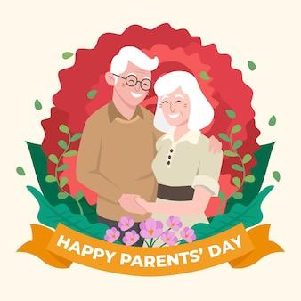 Ilustracja dzień ekologicznych płaskich rodziców