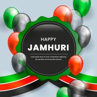 Ilustracja dzień jamhuri z realistycznymi balonami