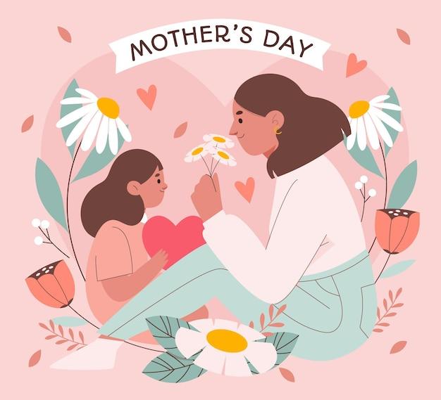 Ilustracja dzień matki płaski organiczny