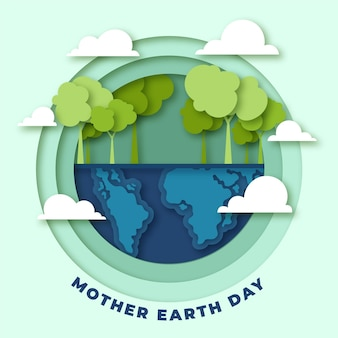 Ilustracja dzień matki ziemi w stylu papieru