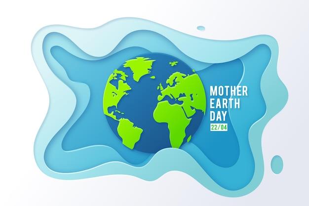 Ilustracja Dzień Matki Ziemi W Stylu Papieru Darmowych Wektorów