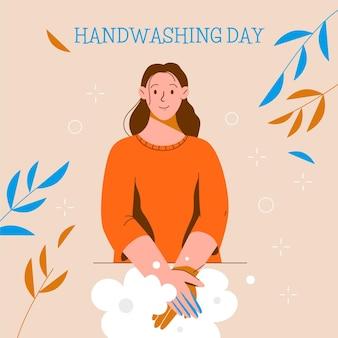 Ilustracja dzień mycia rąk z kobietą mycie rąk