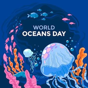 Ilustracja dzień oceanów organicznych płaski świat