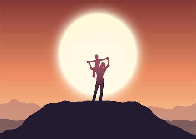 Ilustracja dzień ojca z tatą i synem w krajobrazie zachodu słońca