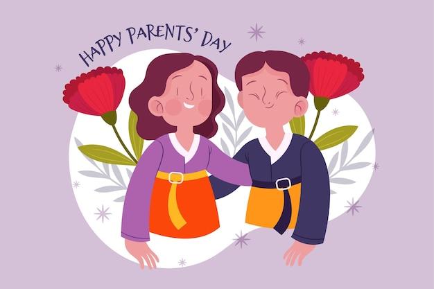 Ilustracja dzień organicznych płaskich koreańskich rodziców