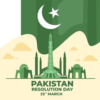 Ilustracja dzień pakistanu z flagą i budynkiem minar-e-pakistan