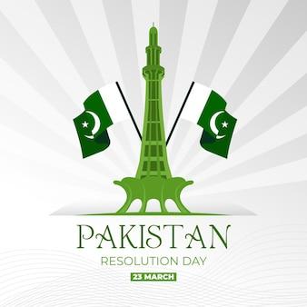 Ilustracja dzień pakistanu z pomnikiem minar-e-pakistan i flagami