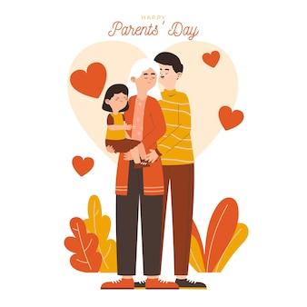Ilustracja dzień płaski koreańskich rodziców