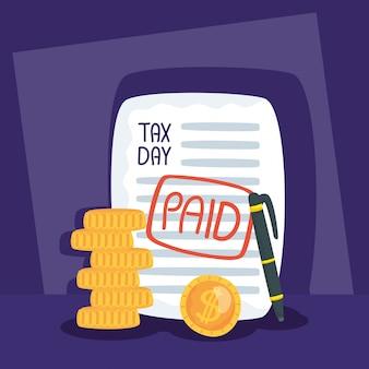 Ilustracja dzień podatkowy z płatnym pokwitowaniem i monet pieniędzy