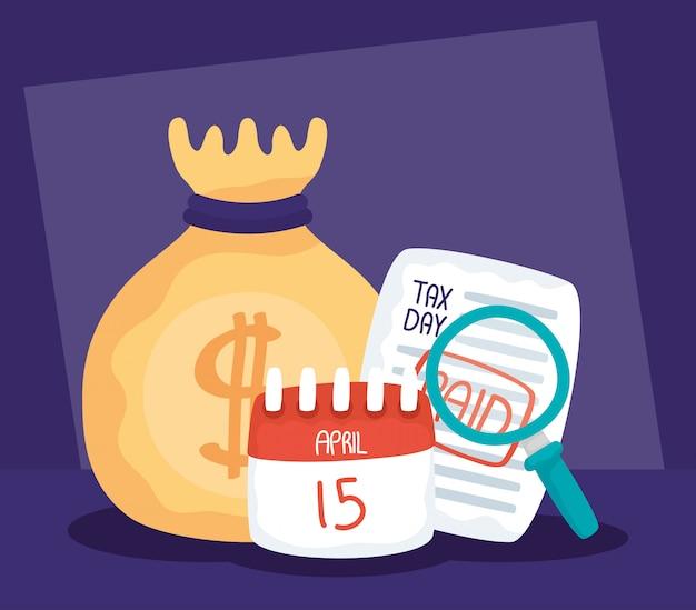 Ilustracja dzień podatku z opłaconym paragonem