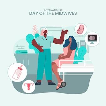 Ilustracja dzień położnych płaskich