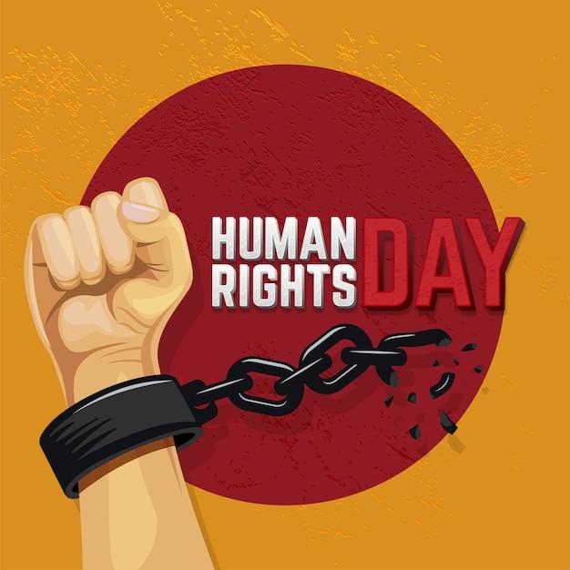 Ilustracja dzień praw człowieka z podniesioną ręką zrywającą łańcuch
