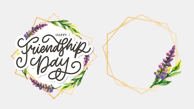 Ilustracja dzień przyjaźni z tekstem i elementami do świętowania dnia przyjaźni