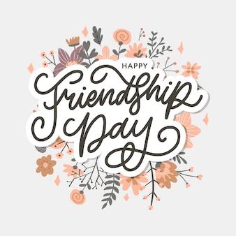 Ilustracja dzień przyjaźni z tekstem i elementami do świętowania dzień przyjaźni kwiaty