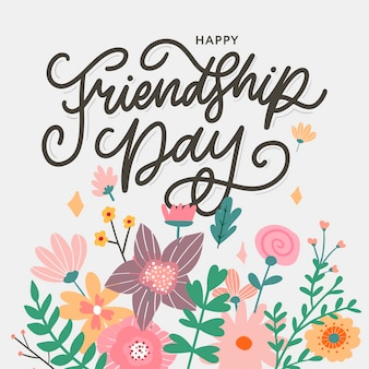 Ilustracja dzień przyjaźni z tekstem i elementami do świętowania kwiatów dzień przyjaźni