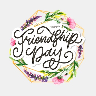 Ilustracja dzień przyjaźni z tekstem i elementami na obchody dnia przyjaźni