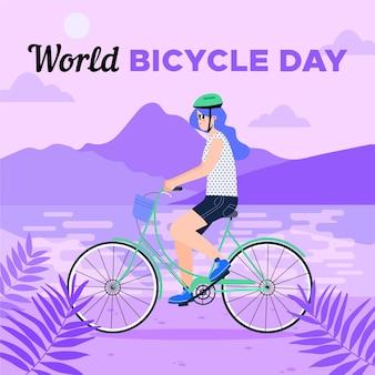 Ilustracja dzień roweru ekologicznego płaski świat