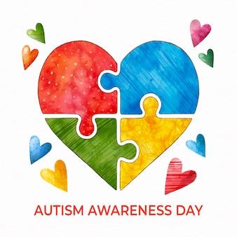 Ilustracja dzień świadomości autyzmu świata akwarela