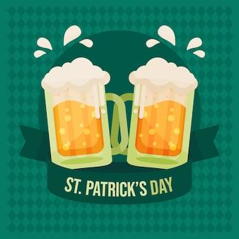 Ilustracja dzień świętego patryka z kuflami piwa