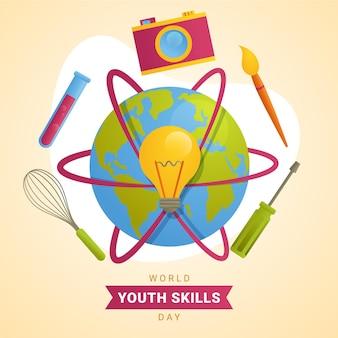 Ilustracja dzień umiejętności młodzieży gradientu świata