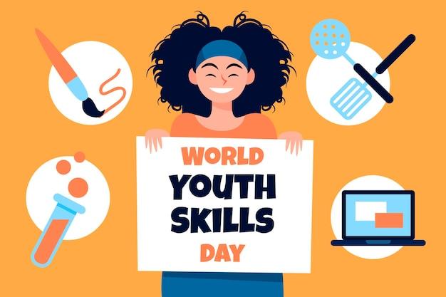 Ilustracja dzień umiejętności młodzieży z płaskim światem organicznym
