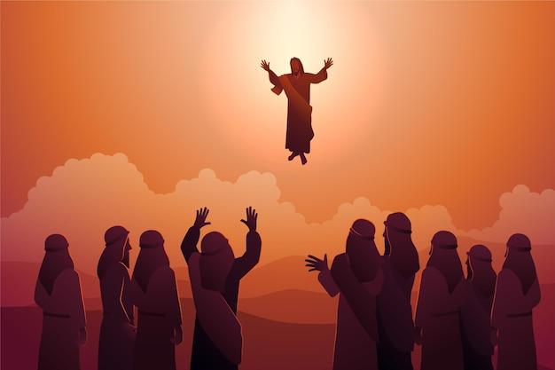 Ilustracja dzień wniebowstąpienia z jezusem chrystusem