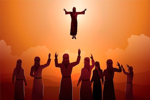 Ilustracja dzień wniebowstąpienia z jezusem i wyznawcami
