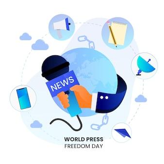 Ilustracja dzień wolności prasy światowego gradientu