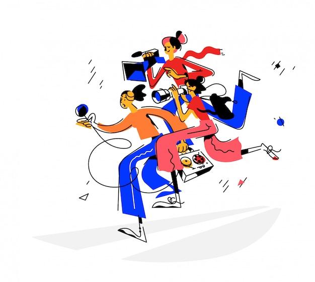 Ilustracja dziewczyn dziennikarzy