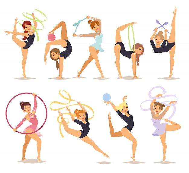 Ilustracja dziewczyna gimnastyczka