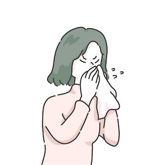 Ilustracja dziewczyna kichanie