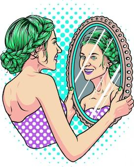 Ilustracja dziewczyna lustro